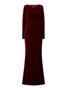 Czerwona sukienka Paradi maxi dopasowana z długim rękawem