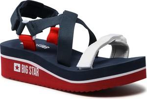 Granatowe sandały Big Star w stylu casual z klamrami na platformie