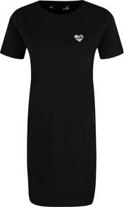 Czarna sukienka Love Moschino w stylu casual z okrągłym dekoltem z krótkim rękawem