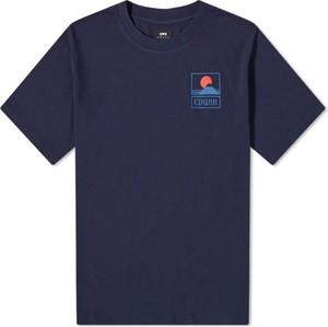 Niebieski t-shirt Edwin z krótkim rękawem z bawełny