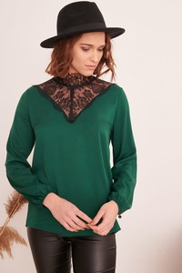 Zielona bluzka Blue Shadow z długim rękawem z dresówki w stylu casual