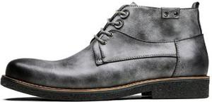 Brązowe buty zimowe Yaze sznurowane ze skóry ekologicznej