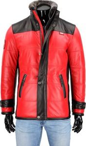 Czerwona kurtka Dorjan ze skóry w stylu casual