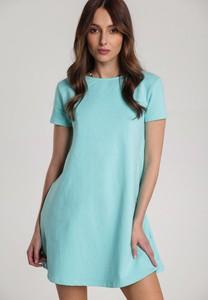 Miętowa sukienka Renee mini w stylu casual z krótkim rękawem