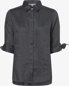 Czarna bluzka Vg z krótkim rękawem z lnu z kołnierzykiem