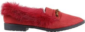 Czerwone półbuty Kokietki z płaską podeszwą w stylu casual
