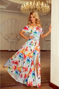 Sukienka NUMOCO maxi w stylu boho z krótkim rękawem