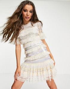 Sukienka Needle & Thread mini z krótkim rękawem z golfem