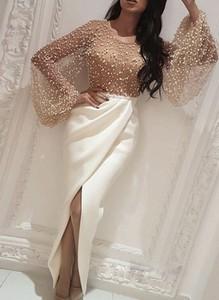 Sukienka Sandbella z długim rękawem z okrągłym dekoltem maxi