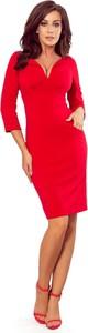 Sukienka NUMOCO midi z dekoltem w kształcie litery v z długim rękawem