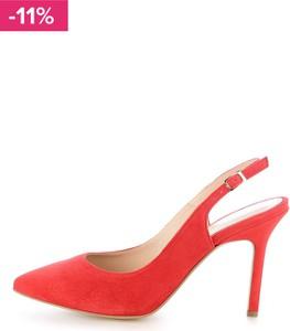 7b5415c3 Prima moda czerwone czółenka ze skóry zamszowej z odkrytą piętą palizzi