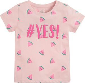 Różowa bluzka dziecięca Cool Club z krótkim rękawem dla dziewczynek