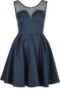 Niebieska sukienka VISSAVI bez rękawów mini rozkloszowana