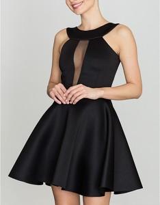 Czarna sukienka LENITIF bez rękawów rozkloszowana
