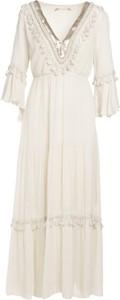 Sukienka Multu maxi z dekoltem w kształcie litery v z długim rękawem