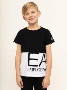 Czarna koszulka dziecięca Emporio Armani z krótkim rękawem