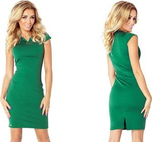 Zielona sukienka NUMOCO mini z krótkim rękawem z dekoltem w kształcie litery v
