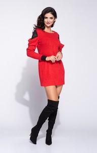 Czerwona sukienka Bien Fashion z długim rękawem z okrągłym dekoltem
