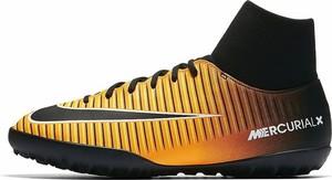 Pomarańczowe buty sportowe Nike sznurowane ze skóry mercurial