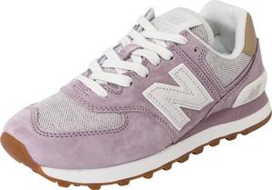 Różowe buty sportowe New Balance z płaską podeszwą ze skóry 574