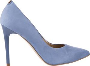 Niebieskie szpilki bayla na szpilce ze skóry na wysokim obcasie