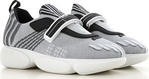 Srebrne buty sportowe Prada w stylu casual sznurowane