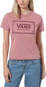 Różowy t-shirt Vans z okrągłym dekoltem z krótkim rękawem w młodzieżowym stylu