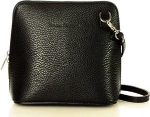 Czarna torebka Merg ze skóry w stylu glamour na ramię