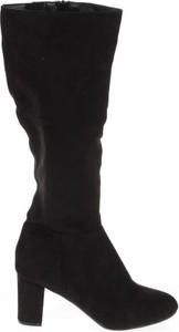 Czarne kozaki Sole na słupku przed kolano na zamek