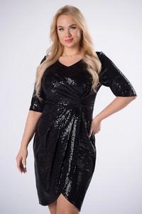 Czarna sukienka Ptakmoda.com z długim rękawem z tkaniny