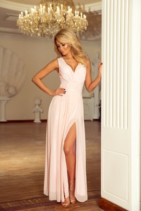 955e592e19 Różowa sukienka NUMOCO z dekoltem w kształcie litery v maxi