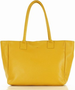 Żółta torebka GENUINE LEATHER na ramię duża w wakacyjnym stylu