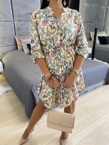Sukienka ModnaKiecka.pl z dekoltem w kształcie litery v w stylu casual z długim rękawem