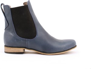 Niebieskie botki Zapato z płaską podeszwą w stylu boho