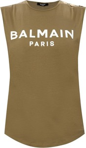 Zielona bluzka Balmain bez rękawów