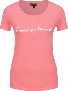 Różowy t-shirt Emporio Armani