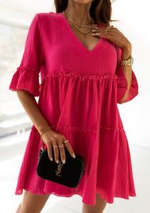 Sukienka Latika z bawełny z dekoltem w kształcie litery v