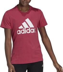 Czerwony t-shirt Adidas w sportowym stylu z okrągłym dekoltem