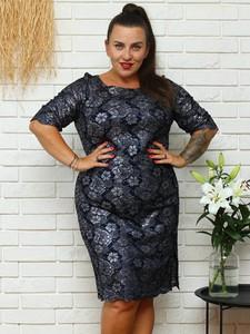 Sukienka KARKO z okrągłym dekoltem ołówkowa
