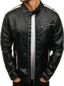 Czarna kurtka denley ze skóry ekologicznej w stylu casual