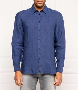 Niebieska koszula Trussardi z długim rękawem z lnu