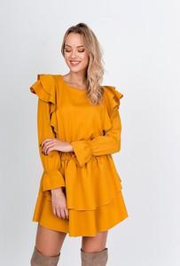Sukienka ZOiO.pl z długim rękawem w stylu casual rozkloszowana