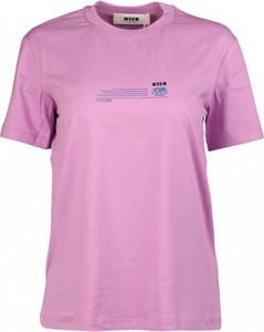 Różowy t-shirt MSGM z okrągłym dekoltem z bawełny z krótkim rękawem