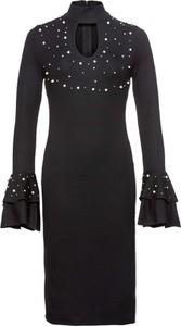 Granatowa sukienka bonprix BODYFLIRT boutique dopasowana midi w stylu casual