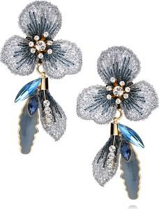 LILY Kolczyki niebieskie kwiaty z kryształkami i emalią KLI0003