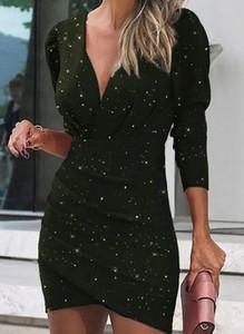 Czarna sukienka Cikelly ołówkowa z długim rękawem mini