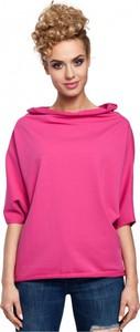 Różowa bluzka MOE w stylu casual z dzianiny