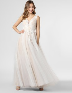 Sukienka Luxuar Fashion rozkloszowana maxi z dekoltem w kształcie litery v