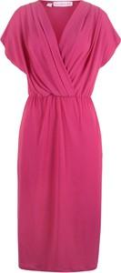 Różowa sukienka bonprix bpc bonprix collection kopertowa z krótkim rękawem z dekoltem w kształcie litery v