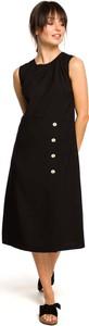 Czarna sukienka MOE midi trapezowa z lnu